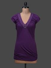 Purple Funnel Neck Cotton Top - SPECIES