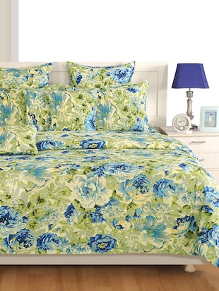 Off White and Cream Floral Cotton Bed Sheet with Pillow Covers