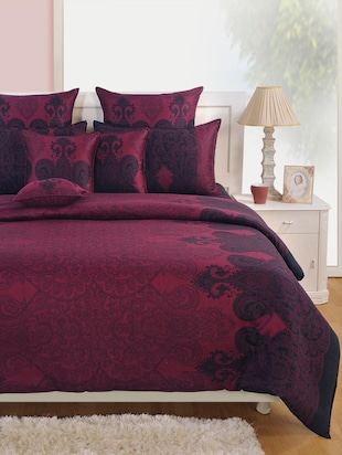 Pink and Blue Ethnic Cotton (Satin Finish) Bed Sheet with Pillow Covers