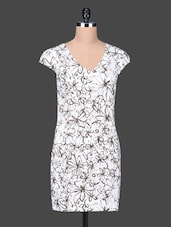 White Printed Cotton Lycra Shift Dress - SPECIES