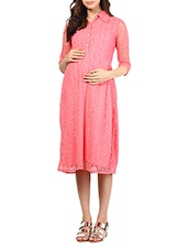 Pink Floral Lace Maternity Dress - Mine4Nine