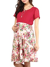 Red Floral Printed Poly-georgette Maternity Dress - Mine4Nine