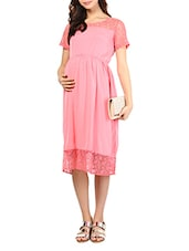Pink Maternity Dress With Floral Lace Panels - By