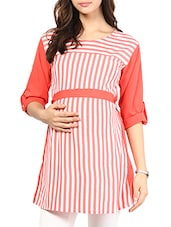 Red Striped Cotton Maternity Top - Mine4Nine