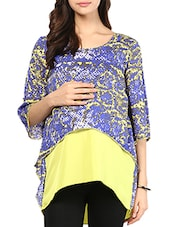 Yellow And Blue Printed Maternity Top - Mine4Nine