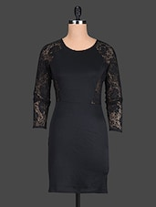 Black Plain Trimmed Lace Polyester Dress - @ 499
