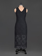Black Plain Polyester Long Dress - @ 499