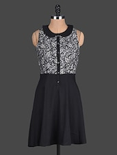 Black Printed Sleeveless Polyester Dress - @ 499