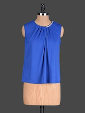 Blue Plain Poly Knit Pleated Top - @ 499