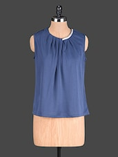 Blue Plain Polyester Pleated Top - @ 499