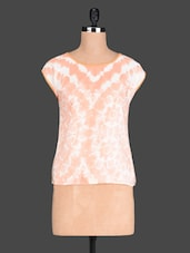 Orange Tie Dye Printed Polyester Top - @ 499