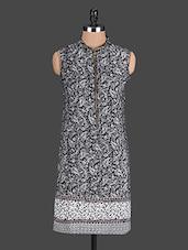 Black Printed Cotton Front Zipper Kurti - @ 499