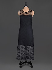 Black Trimmed Lace Polyester Net Dress - @ 499