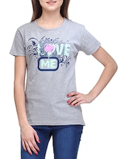Grey Round Neck Printed T-shirt - Stilestreet