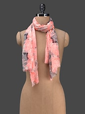 Pink Printed Cotton Blend Stole - J STYLE