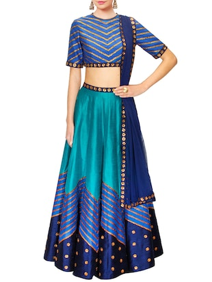 blue raw silk lehenga