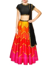 multi colored faux silk lehenga -  online shopping for lehengas