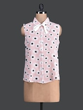 Floral Printed Sleeveless Peach Shirt - Label VR