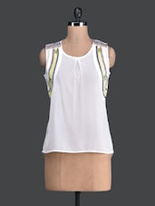 Round Neck Sleeveless White Georgette Top - Label VR