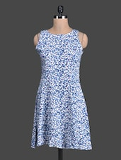Blue Floral Printed Sleeveless Dress - Label VR