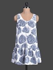 Blue Leaf Printed Sleeveless Dress - Label VR