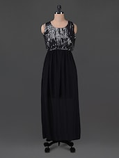 Printed Black Georgette Maxi Dress - G&M Collections