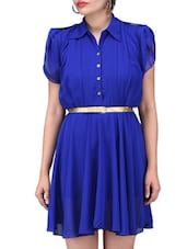 Solid Royal Blue Georgette Mini Dress - By