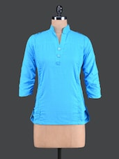 Blue Pintuck Cotton Top - Vani