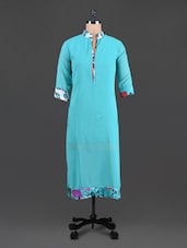 Blue Poly Georgette Printed Kurti - Vani