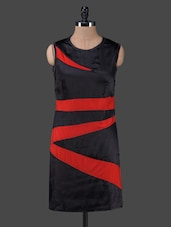 Black & Red Color Block Bodycon Dress - Peptrends