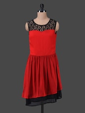 Lace Neck Red Fit & Flare Dress - Peptrends