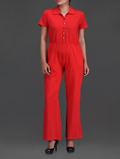 Solid Red Shirt Collar Jumpsuit - By