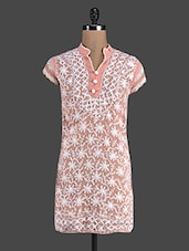Peach Embroidered Cotton Chikan Kurti - Kiala