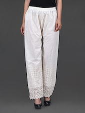 White Cotton Embroidered Pants - Kiala