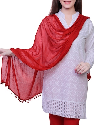 red cotton dupatta