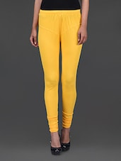 Yellow Plain Cotton Lycra Leggings - Kiala