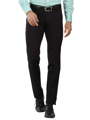 navy blue cotton formal trouser