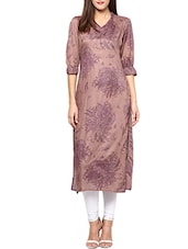Brown Cotton Printed Kurta - By