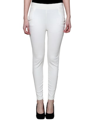 white nylon jeggings