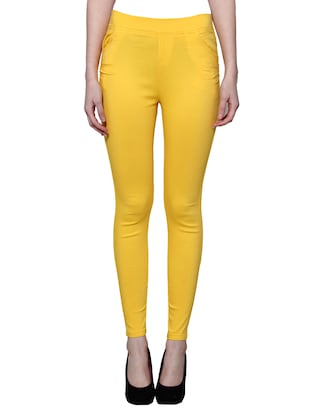 yellow nylon jeggings