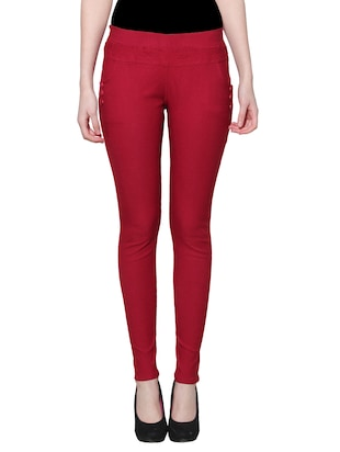 red nylon jeggings