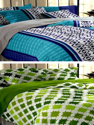 multi colored cotton bed sheet combo (Set of 2 bedsheets & Four pillow covers)