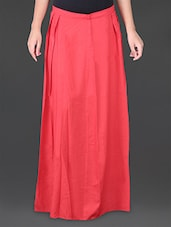 Solid Red Hot Pleated Long Skirt - House Of Tantrums