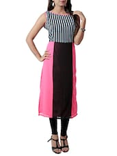 Pink And Brown Georgette Kurta - By