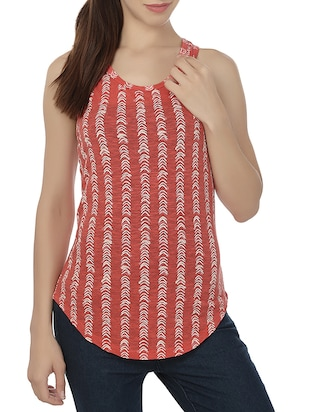 red printed cotton tank top
