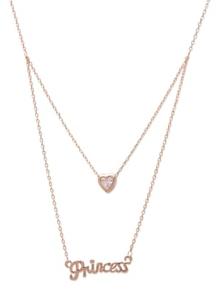 Rose Gold Layered Heart and 'Princess' Pendant Necklace
