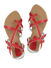 Red Buckle Closure Strappy Sandals - Niremo