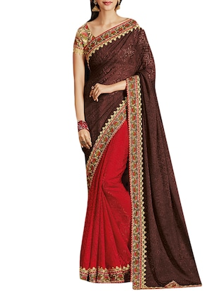 brown and blue georgette jacquard saree