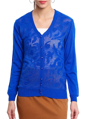 blue wool cardigan