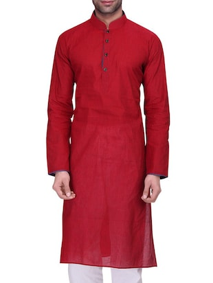 solid cherry red cotton long kurta